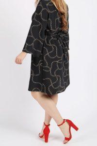Chain Print Longsleeve V-Neck Dress
