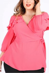 Coral Wrap Top with Frilled Shoulders
