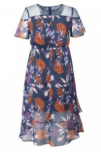 Dark Florals Sheer Tea Dress