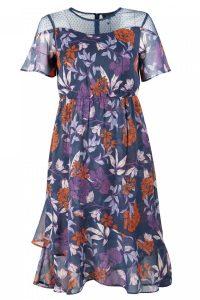 Dark Florals Sheer Tea Dress