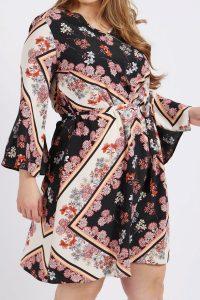 Floral Scarf Print V-Neck Dress