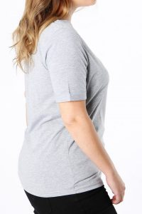 Grey Embroidered Slogan T-shirt