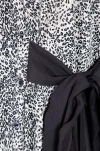 Monochrome Micro Leopard Print Button Front Belted Bow Dress