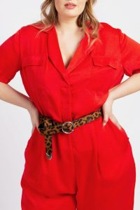 Red Satin Jumpsuit with Reveres Collar