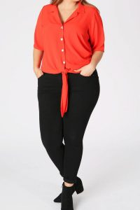 Red Tie Front Shirt