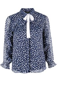 Ruffle Long Sleeve Polkadot Tie Neck Blouse