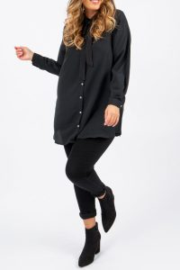 Tie Up Bow Blouse Black