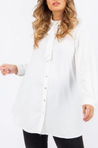 Tie Up Bow Blouse White