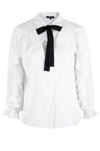 White Ruffle Long Sleeve Tie Neck Blouse