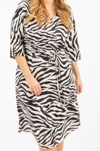 Zebra Print Batwing Sleeve Plisse Dress