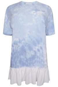 Blue Tie Dye Oversized tshirt with Frill