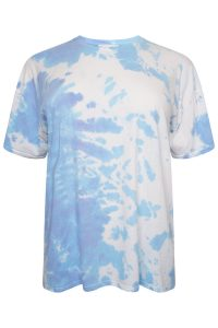 Blue and White Tie Dye Oversized tshirt with Frill