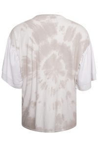 Cream and White Tye Die Oversized tshirt with Frill Sleeves