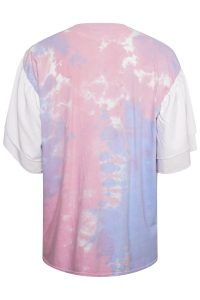 Pink and Blue Tye Die Oversized tshirt with Frill Sleeves