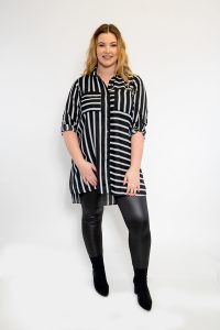 BLACK AND WHITE STRIPED SHIRT WITH POCKET LADIES PLUS SIZE