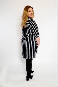 Contrast Stripe Pocket Shirt Curve Ladies Longline Top
