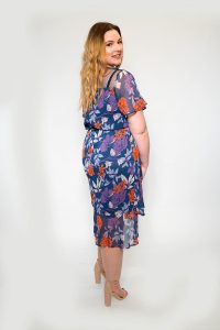 Dark Florals Sheer Tea Dress Plus Size