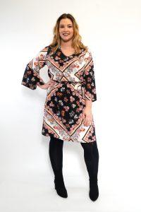 Floral Scarf Print V-Neck Curve Dress