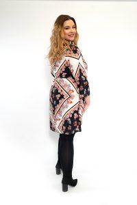 Floral Scarf Print V-Neck Curve Dress Back