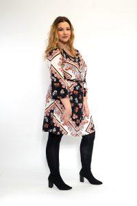 Floral Scarf Print V-Neck Curve Dress Side