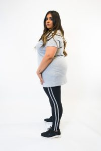 HOME GIRL GREY TSHIRT AND BLACK LEGGING SET COORD PLUSSIZE LOUNGEWEAR 2 PT-ZS-0013-GRY