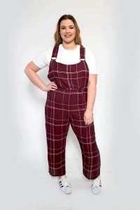 LADIES CHECK PINAFORE JUMPSUIT