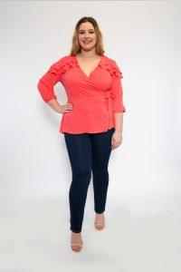 Ladies Plus Size Coral Wrap Top with Frill