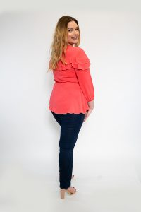 Ladies Plus Size Coral Wrap Top with Frill Back
