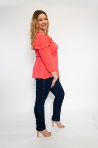 Ladies Plus Size Coral Wrap Top with Frill Side