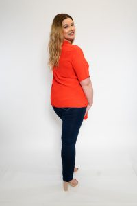 Ladies Plus Size Red Tie Front Shirt Back
