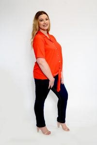 Ladies Plus Size Red Tie Front Shirt Side