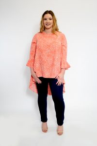 Ladies Plus Size Tunic Coral Dipped Hem Micro Spot Coral Tunic Front