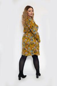 Mustard Floral Wrap Dress Plussize Curve Back