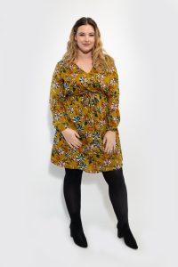 Mustard Floral Wrap Dress Plussize Curve Front