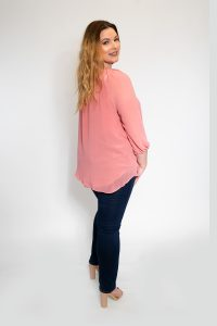 Pink Round Neck Blouse With Tie Plus Size Bk