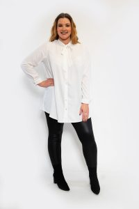 Womens Curve Tie Up Bow Blouse White Shirt Front