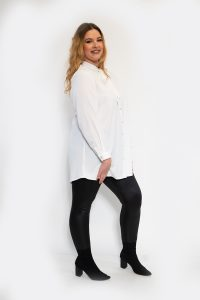 Womens Curve Tie Up Bow Blouse White Shirt Side