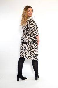 Zebra Print Batwing Sleeve Plisse Plus Size Dress Back
