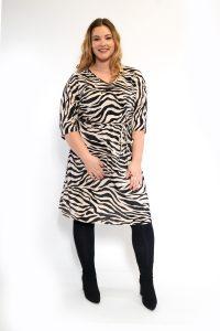 Zebra Print Batwing Sleeve Plisse Plus Size Dress Front