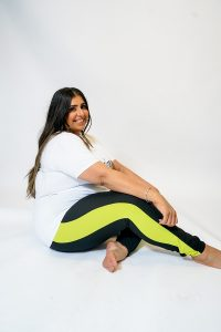 PLUS SIZE BLACK JOGGING BOTTOMS WITH LIME SIDE PANEL
