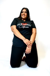 plus size black palm springs slogan tshirt front